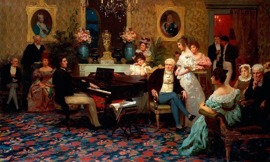 Chopin nổi tiếng với ngón legato và saccato thần sầu nhờ chơi FFP. Hình: Chopin chơ cho nhà Radziwiłłs, 1829 (tranh bởi Henryk Siemiradzki, 1887)